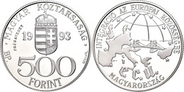 500 Forint, Silber, 1993, Probe, EU, Vgl. KM 704, In Kapsel, PP.  PP - Hungría