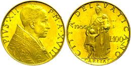 100 Lire, Gold, 1956, Pius XII., Fb. 290, Wz. Kratzer Und Kl. Randfehler, Kl. Flecken, F. St. - Vaticano (Ciudad Del)