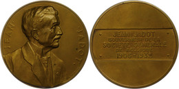 Belgien, Bronzemedaille (Dm. Ca. 69,50mm, Ca. 144,10g), 1936, Von G. Devreese, Auf Jean Jadot. Av: Brustbild Nach Rechts - Monedas