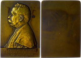 Belgien, Bronzeplakette (43x 62mm, 79,10g), 1932, Von George/petit. Av. Büste Von  A. Ernest Mahaim 1892-1932 N. L., Vz- - Monedas