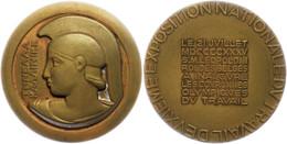 Belgien, Bronzemedaille (Dm. Ca. 64,10mm, Ca. 107g), 1935, Unsigniert, Athenabüste Mit Korinthischem Helm Von Vorn, Den  - Monedas