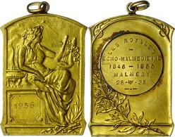 Belgien, Malmedy, Gehenkelte Messingplakette (ca. 67,10x43mm, Ca. 61,85g), 1936, Unsigniert. Av: Auf Einem Sockel Sitzen - Monedas
