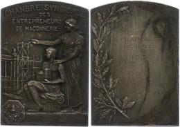 Frankreich, Versilberte Bronzeplakette (Dm. Ca. 46,50x65,80mm, Ca. 68,45g), 1936, Von L. Cariat. Av: Sitzende Männliche  - Monedas
