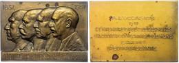 Belgien, Rechteckige Bronzeplakette (ca. 84,10x59,60mm, Ca. 186,52g), 1937, Von G. Jacobs. Av: Vier Brustbilder Nach Lin - Monedas
