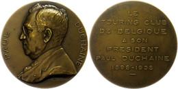 Belgien, Bronzemedaille (Dm. Ca. 62,50mm, Ca. 88,04g), 1938, Von Bonnetain, Auf Paul Duchaine. Av: Brustbild Nach Links, - Monedas