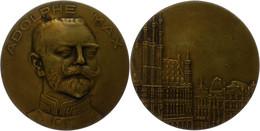 Belgien, Bronzemedaille (Dm. Ca. 65,90mm, Ca. 97,43g), O.J., Unsigniert, Auf Den Bürgermeister Adolphe Max. Av: Büste Sc - Monedas