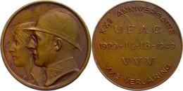 Belgien, Bronzemedaille (45 Mm, 28,60 G), 1949, Von Bremaecker. Zum 20 Jährigen Jubiläum Der UFAC. Av. Köpfe Von Leopold - Monedas