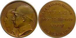 Belgien, Bronzemedaille (45 Mm, 29,85 G), 1949, Von  Bremaecker. Zum 20 Jährigen Jubiläum Der UFAC. Av. Köpfe Von Leopol - Monedas