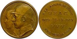 Belgien, Bronzemedaille (45 Mm, 31,95 G), 1949, Von  Bremaecker. Zum 20 Jährigen Jubiläum Der UFAC. Av. Köpfe Von Leopol - Monedas
