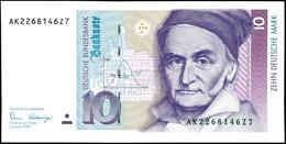 10 Deutsche Mark, Bundesbanknote, 2.1.1989, Serie AK 2268146Z7, Ro. 292, Kleiner Bug Mitte Unten, Sonst Erhaltung I., Ka - [ 7] 1949-… : FRG - Fed. Rep. Of Germany
