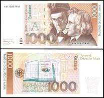 1000 Deutsche Mark, Bundesbanknote, 1.8.1991, Austauschnote Bundesdruckerei, Serie YA4108574A1, Ro. 302 B, Erhaltung I-I - [ 7] 1949-… : FRG - Fed. Rep. Of Germany