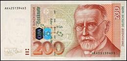 200 Deutsche Mark, Bundesbanknote, 2.1.1996, Serie AK4251394D3, Ro. BRD-55a, Erhaltung I., Katalog: BRD-55a I - [ 7] 1949-… : FRG - Fed. Rep. Of Germany