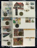 DDR, Lot Von Neun Numisbriefen Mit Jeweils Einer 5 Mark Münze Aus Dem Zeitraum 1978-1990. - Monedas