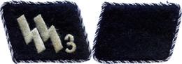 """SS Paar Kragenspiegel Für Einen Führer Im SS-Regiment 3 """"Der Führer"""", Schwarz, Metallfaden, Umlaufende Schwarz/silberne  - Militares"""