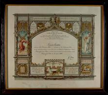 1897, Konfirmations-Urkunde, Datiert 23. April 1897 Frankfurt Am Main, Kleine Schadstelle In Der Mitte, Gerahmt. - Militares