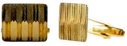 Paar Rechteckige Manschettenknöpfe Mit Geometrischem Dekor. 20. Jh. 333er GG, Gestempelt. Juwelierpunze, Nicht Aufgelöst - Monnaies & Billets