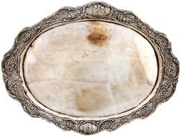 Äußerst Dekoratives Set Aus Silber  Mit Rosen- Und Puttidekor Bestehend Aus Einem Tablett, Ca. 41,6 X 34,4 Cm, Ca. 936,0 - Monnaies & Billets