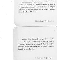 2 Cartons D'invitations Pour La Remise De La Crois De La Légion D'Honneur à Mr Varneville Par Mr Robert Thoumyre Député - Visiting Cards
