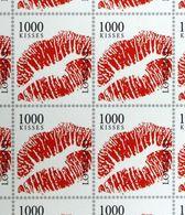 One Thousend 1000 Kisses Lips Stamps On Card JOS LAMBREGS Mille 1000 Baisers Timbres Sur Carte Philatélie Rouge à Lèvres - Stamps (pictures)