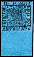 1/2 Schilling Schwarz Auf Mittelpreußischblau, Vollrandiges Und Farbfrisches Unterrandstück, Postfrisch, Kabinett., Kata - Bergedorf