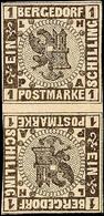 1 Sch. Schwarz Auf Weiß, Senkrechtes Kehrdruck-Zwischenstegpaar, Links Angeschnitten - Sonst Vollrandig, Postfrisch, Gep - Bergedorf