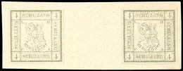 4 Schilling Olivgrau Als Essay-Nachdruck In Neuer Zeichnung  Von 1866 Im Waagerechtem Zwischenstegpaar, Tadellos Ungebra - Bergedorf