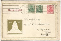 ALEMANIA HAMBURG 1912 ENTERO POSTAL MONUMENTO LEIPZIG - Germany