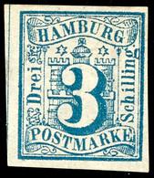 3 Schilling Preußischblau, Farbfrisches Und Vollrandiges Kabinettstück, Ungebraucht Mit Originalgummierung, Gepr. Jakube - Hamburg