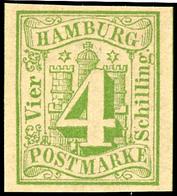 """4 Schilling Gelbgrün, Allseits Breitrandiges Und Postfrisches Luxusstück! Gepr. Jakubek, Notiz Michel: """"Postfrische Exem - Hamburg"""