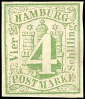 4 Sch. Blaugrün, Vollrandiges Exemplar, Ungebraucht Ohne Gummierung, Am Rechten Rand Minimale Schürfung, Gepr. W. Engel  - Hamburg