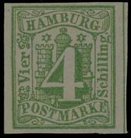 4 Schilling Gelbgrün, Breitrandiges Kabinettstück In Farbfrischer Erhaltung, Ungebraucht Ohne Gummierung, Fotobefund Lan - Hamburg