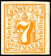7 Schilling Gelblichorange, Farbfrisches Und Vollrandiges Kabinettstück, Ungebraucht Mit Originalgummierung, Mi. 130.-,  - Hamburg