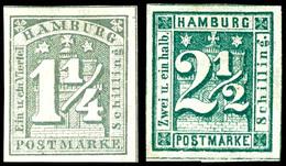 1 1/4 S Grau Und 2 1/2 S Dunkelgrün Tadellos Ungebraucht, Sign., Mi. 300.-, Katalog: 8c,9 * - Hamburg