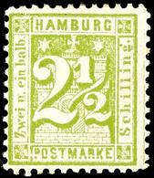 2 1/2 Schilling Dunkelopalgrün, Farbfrisches Kabinettstück, Ungebraucht Mit Originalgummierung, Mi. 150.-, Katalog: 14II - Hamburg