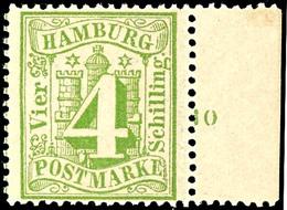 """4 Schilling Grün, Vom Rechten Bogenrand Mit Reihenzähler """"10"""", Farbfrisches Kabinettstück, Postfrisch, Gepr. Jakubek BPP - Hamburg"""