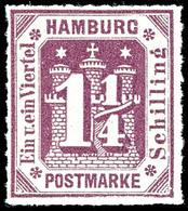 1 1/4 Schilling Graupurpur, Farbfrisches Und Tadellos Durchstochenes Kabinettstück, Tadellos Postfrisch, Fotobefund Lang - Hamburg
