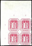 1 1/2 Schilling Karmin, Eckrandviererblock Oben Links, Tadellos Postfrisches Kabinettstück, Katalog: 21(4) ** - Hamburg