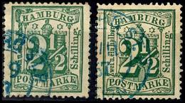 2 1/2 Sch. In A- Und B-Farbe, Gestempelt, Je Kleine Mängel Und Gepr. W. Engel BPP, Mi. 220.-, Katalog: 22a,22b O - Hamburg