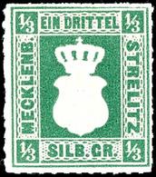 1/3 Sgr. Dunkelgraugrün, Tadellos Postfrisches Kabinettstück, Gepr. Berger BPP, Mi. 350.- - In Dieser Qualität Seltene M - Mecklenburg-Strelitz