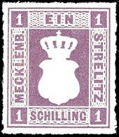 1 Schilling Grauviolett, Tadellos Postfrisch, Kabinett, Gepr. Berger BPP, Mi. 650.-, Ex Sammlung Nitaha, Katalog: 3 ** - Mecklenburg-Strelitz