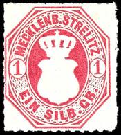 1 Silbergroschen Dunkelrosarot, Tadellos Durchstochenes Und Farbfrisches Kabinettstück, Ungebraucht Mit Originalgummieru - Mecklenburg-Strelitz