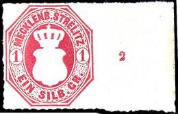"""1 Silbergroschen Dunkelrosarot, Vom Rechten Bogenrand Mit Reihenzahl """"2"""", Farbfrisches Und Tadellos Durchstochenes Kabin - Mecklenburg-Strelitz"""