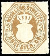 3 Sgr. Schwärzlichbraunocker, Tadellos Postfrisches Kabinettstück, Gepr. Berger BPP, Mi. 90.-, Zuschlag 168. Auktion = 6 - Mecklenburg-Strelitz