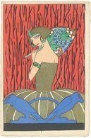 Femme A L' Eventail Art Déco - Carte Artisanale  (1399 ASO) - Ilustradores & Fotógrafos