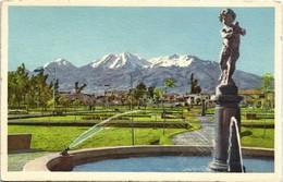 Postcard Arequipa Parque Selva-Alegre Con El CHACHANI 1960 - Pérou