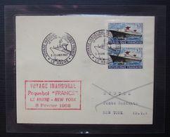 1962 Paquebot France Voyage Inaugural Le Havre New York, Lettre Plastifiée , Voir Description ! - Poste Navale