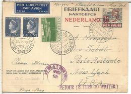 HOLANDA ENTERO POSTAL 1946 PRIMER VUELO AMSTERDAM NEW YORK - Periodo 1891 – 1948 (Wilhelmina)