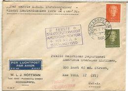 HOLANDA 1950 PRIMER VUELO KLM AMSTERDAM NEW YORK - Period 1949-1980 (Juliana)