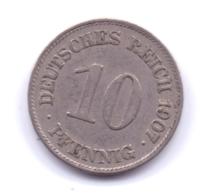 DEUTSCHES REICH 1907 E: 10 Pfennig, KM 12 - [ 2] 1871-1918 : Imperio Alemán