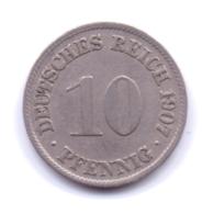 DEUTSCHES REICH 1907 D: 10 Pfennig, KM 12 - [ 2] 1871-1918 : Imperio Alemán